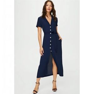 Aritzia Wilfred Midi Shirt Dress Pure Indigo Navy Blue Small ASO Meghan Markle